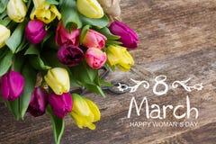 Mazzo dei fiori gialli e porpora del tulipano Fotografie Stock Libere da Diritti