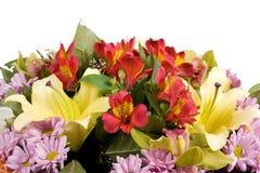 Mazzo dei fiori isolati su priorità bassa bianca Immagine Stock