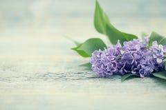 Mazzo dei fiori lilla sulla tavola rustica del turchese Automobile di saluto Fotografia Stock Libera da Diritti