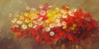 Mazzo dei fiori, pittura fatta a mano Fotografie Stock