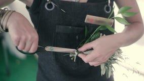 Mazzo dei fiori recisi dei primi piani della ragazza di fiore stock footage
