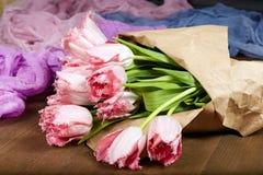 Mazzo dei fiori rosa del tulipano Fotografia Stock Libera da Diritti