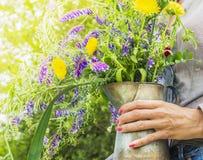 Mazzo dei fiori selvaggi di estate in vecchia brocca a disposizione Fotografia Stock