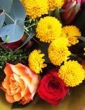Mazzo dei fiori Tulipani, rose, crisantemi con il reggiseno verde Fotografie Stock