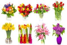Mazzo dei fiori variopinti tulipani, rose, lillà, narciso, Li Fotografia Stock Libera da Diritti