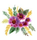 Mazzo dei fiori verniciati in acquerello Fotografia Stock