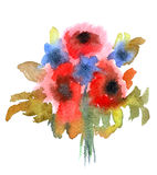 Mazzo dei fiori verniciati in acquerello Fotografie Stock Libere da Diritti