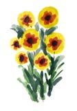 Mazzo dei fiori verniciati in acquerello Fotografia Stock Libera da Diritti