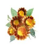 Mazzo dei girasoli verniciati in acquerello Immagine Stock Libera da Diritti