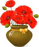 Mazzo dei papaveri rossi in vaso di argilla Immagini Stock Libere da Diritti