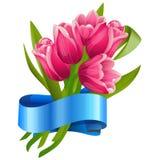 Mazzo dei tulipani con il nastro di saluti Fotografia Stock Libera da Diritti