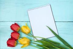 Mazzo dei tulipani e del fondo di legno blu del blocco note Fotografia Stock Libera da Diritti