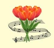 Mazzo dei tulipani e della nota di musica Fotografie Stock Libere da Diritti