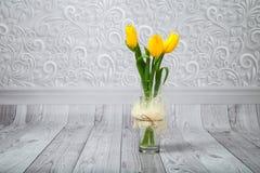 Mazzo dei tulipani gialli Fotografie Stock Libere da Diritti