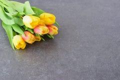 Mazzo dei tulipani multicolori su un panno grigio Piovuto appena sopra romanzesco Fotografie Stock Libere da Diritti