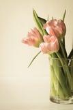 Mazzo dei tulipani rosa freschi fotografia stock