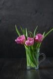 Mazzo dei tulipani rosa freschi su fondo scuro fotografia stock
