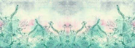Mazzo dei wildflowers su un fondo dell'acquerello Immagine Stock