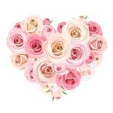 Mazzo del cuore delle rose rosa Illustrazione di vettore Immagini Stock Libere da Diritti