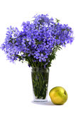 Mazzo del fiore blu circa una mela Immagini Stock