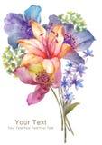 Mazzo del fiore dell'illustrazione dell'acquerello nel fondo semplice Immagine Stock Libera da Diritti