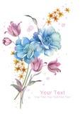 Mazzo del fiore dell'illustrazione dell'acquerello nel fondo semplice Fotografie Stock Libere da Diritti
