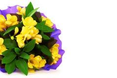 Mazzo del fiore giallo di fresia Immagini Stock Libere da Diritti