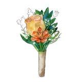Mazzo del fondo dei wildflowers watercolor illustrazione vettoriale