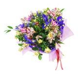 Mazzo del nerine, dell'iride, del alstroemeria, delle rose e di altri fiori Fotografia Stock