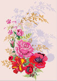 Mazzo del papavero del ansd della Rosa con ombra Fotografia Stock Libera da Diritti