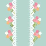 Mazzo del tulipano su stile dell'annata del fondo del pois Fotografie Stock