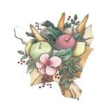 Mazzo dell'acquerello delle verdure e del puntinismo, semenzaio, kaleyard Immagini Stock