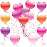 Mazzo dell'aerostato del cuore Fotografia Stock Libera da Diritti
