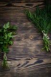 Mazzo dell'aneto su fondo di legno rustico Fotografia Stock