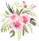 Mazzo della Boemia del fiore con le rose illustrazione vettoriale