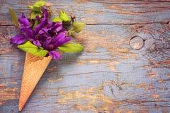 Mazzo della clematide blu nel cono della cialda del gelato sul BAC dell'annata Fotografia Stock Libera da Diritti