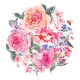 Mazzo della molla dell'acquerello con la ciliegia di fioritura e le rose inglesi Immagini Stock