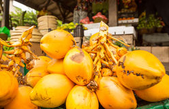Mazzo della noce di cocco di re nel negozio della frutta sulla Sri Lanka Fotografia Stock
