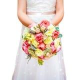 Mazzo della sposa a disposizione isolato su bianco Immagine Stock