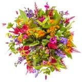 Mazzo della vista superiore dei fiori isolato su bianco fotografie stock libere da diritti