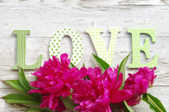 Mazzo delle peonie rosa ed il messaggio su amore dalle lettere luminose Immagini Stock