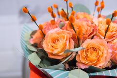 Mazzo delle rose arancio fotografie stock libere da diritti