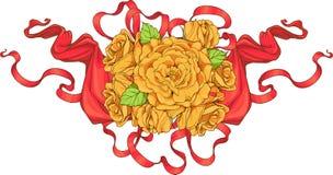 Mazzo delle rose con i nastri Fotografie Stock Libere da Diritti