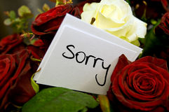 Mazzo delle rose con la scheda di scuse Fotografia Stock Libera da Diritti