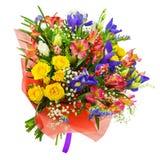 Mazzo delle rose, dell'iride, del alstroemeria, del nerine e di altri fiori Fotografia Stock Libera da Diritti