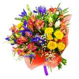 Mazzo delle rose, dell'iride, del alstroemeria, del nerine e di altri fiori Fotografie Stock Libere da Diritti