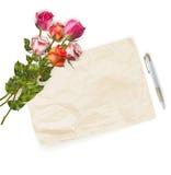 Mazzo delle rose e cartolina d'auguri in bianco ENV 10 Fotografia Stock
