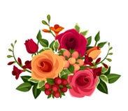 Mazzo delle rose e dei fiori di fresia Illustrazione di vettore Fotografie Stock Libere da Diritti