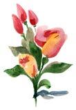 Mazzo delle rose e dei tulipani Fotografia Stock Libera da Diritti