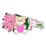 Mazzo delle rose e dell'orsacchiotto Illustrazione di Stock